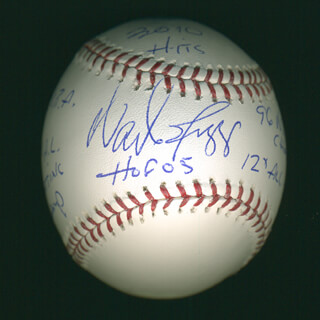 WADE BOGGS - ANNOTATED BASEBALL SIGNED