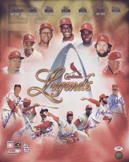THE ST. LOUIS CARDINALS - AUTOGRAPHED SIGNED PHOTOGRAPH CO-SIGNED BY: OZZIE THE WIZARD OF OZ SMITH, BRUCE SUTTER, BOB GIBSON, STAN THE MAN MUSIAL, LOU BROCK, WHITEY HERZOG, RED SCHOENDIENST