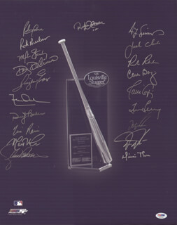 SILVER SLUGGER AWARD WINNERS - AUTOGRAPHED SIGNED PHOTOGRAPH CO-SIGNED BY: DWIGHT DEWEY EVANS, TIM ROCK RAINES, MATT NOKES, DWIGHT DOC GOODEN, DARREN DAULTON, LEON BULL DURHAM, DUSTY BAKER, RICK ROOSTER BURLESON, DICKIE THON, MIKE STANLEY, RUBEN SIERRA, JACK THE RIPPER CLARK, TED SIMMONS, ROBERTO ALOMAR, LANCE M. PARRISH, RICK RHODEN, DOUG DECINCES, JAVIER JAVY LOPEZ, CARLOS BAERGA, TIM LEARY