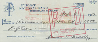 GENERAL OMAR N. BRADLEY - AUTOGRAPHED SIGNED CHECK 02/08/1952