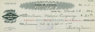 CHIEF JUSTICE FRED M. VINSON - AUTOGRAPHED SIGNED CHECK 03/08/1923