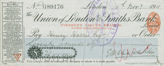 ERNEST H. SHACKLETON - AUTOGRAPHED SIGNED CHECK 11/10/1911