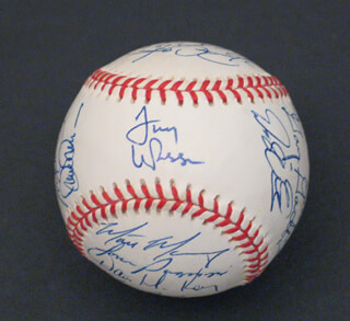 THE ST. LOUIS CARDINALS - AUTOGRAPHED SIGNED BASEBALL CO-SIGNED BY: DENNIS THE ECK ECKERSLEY, RICK HONEYCUTT, TONY LARUSSA, CARNEY R. LANSFORD, MARK McGWIRE, WILLIE MCGEE, ROYCE CLAYTON, TOM PAGNOZZI, GARY GAETTI, TONY FOSSAS, DAVID BELL, CURTIS KING, JOHN FRASCATORE, MARK PETKOVSEK, RIGO BELTRAN, DELINO DESHIELDS, JOHN MABRY