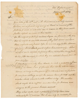 Autographs: MAJOR GENERAL HENRY DEARBORN - MANUSCRIPT LETTER SIGNED 10/20/1804