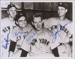 THE NEW YORK YANKEES - AUTOGRAPHED SIGNED PHOTOGRAPH CO-SIGNED BY: JERRY COLEMAN, CLIFF TIGER MAPES, WHITEY FORD, BOBBY BROWN