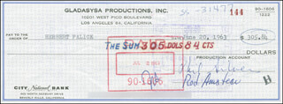 PHIL SILVERS - AUTOGRAPHED SIGNED CHECK 06/20/1963 CO-SIGNED BY: ROD AMATEAU