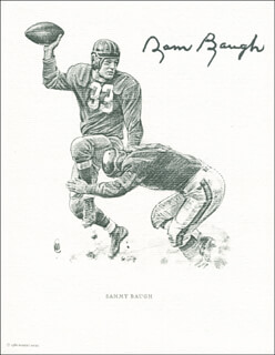 Autographs: SAMMY BAUGH - PRINTED ART SIGNED