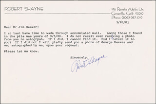 ROBERT SHAYNE - TYPED LETTER SIGNED 03/28/1981