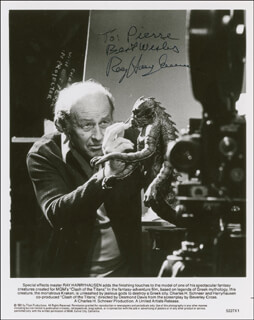 RAY HARRYHAUSEN - INSCRIBED PRINTED PHOTOGRAPH SIGNED IN INK