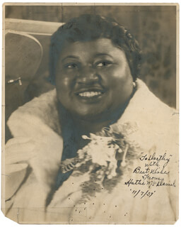 HATTIE MAMMY McDANIEL - AUTOGRAPHED INSCRIBED PHOTOGRAPH 11/07/1937