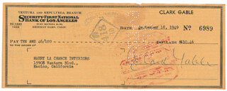 CLARK GABLE - AUTOGRAPHED SIGNED CHECK 09/18/1949