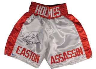 LARRY HOLMES - BOXING TRUNKS SIGNED