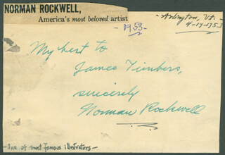NORMAN ROCKWELL - AUTOGRAPH NOTE SIGNED CIRCA 1953