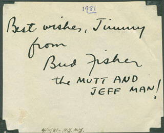 BUD FISHER - AUTOGRAPH NOTE SIGNED CIRCA 1931