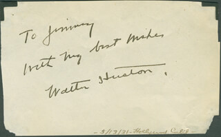 WALTER HUSTON - AUTOGRAPH NOTE SIGNED CIRCA 1931