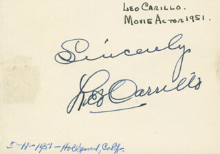 Autographs: LEO PANCHO CARRILLO - AUTOGRAPH SENTIMENT SIGNED