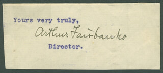 ARTHUR FAIRBANKS - TYPED SENTIMENT SIGNED
