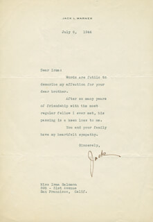 JACK L. SPORTING BLOOD WARNER - TYPED LETTER SIGNED 07/06/1944