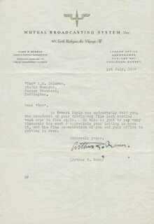 ARTHUR E. MANN - TYPED LETTER SIGNED 07/01/1944