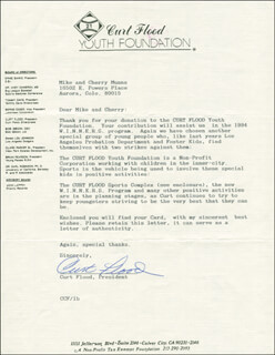 CURT FLOOD - TYPED LETTER SIGNED