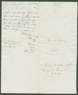 PATRICK F. BIG CASINO GARRETT - DOCUMENT SIGNED 10/24/1882 CO-SIGNED BY: SIMON B. NEWCOMB