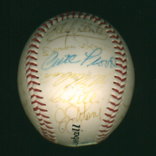 CURT FLOOD - AUTOGRAPHED SIGNED BASEBALL CO-SIGNED BY: MAURY WILLS, TONY OLIVA, VIDA BLUE, DOCK ELLIS, ORLANDO THE BABY BULL CEPEDA, BOB GIBSON, JAY JOHNSTONE, KEN McMULLEN, BOB (BOBBY) TOLAN, JOHN HENRY (BASEBALL) JOHNSON, DENNIS BENNETT