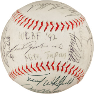 SADAHARU OH - AUTOGRAPHED SIGNED BASEBALL 1992 CO-SIGNED BY: GEORGE FOSTER, DOCK ELLIS, AL MR. SCOOP OLIVER, BILL MADLOCK JR., ERNIE MR. CUB BANKS, LUIS APARICIO, JIM MUDCAT GRANT, TERRY WHITFIELD