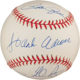 HANK AARON - AUTOGRAPHED SIGNED BASEBALL CO-SIGNED BY: RICKEY HENDERSON, PETE ROSE, NOLAN RYAN