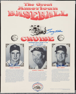 BOBBY THOMSON - AUTOGRAPHED SIGNED POSTER CIRCA 1995 CO-SIGNED BY: TOMMY HENRICH, DON LARSEN
