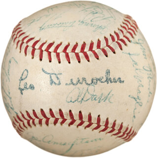 THE NEW YORK GIANTS - AUTOGRAPHED SIGNED BASEBALL CO-SIGNED BY: DON MANDRAKE MUELLER, HOOT (WALTER) EVERS