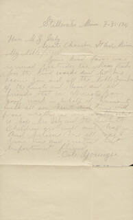 COLE YOUNGER - AUTOGRAPH LETTER SIGNED 03/31/1901