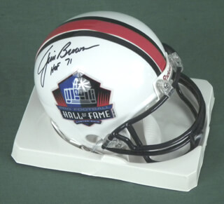 JIM BROWN - MINIATURE HELMET SIGNED