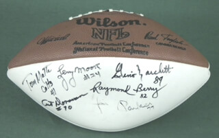 Autographs: BALTIMORE COLTS - FOOTBALL SIGNED CO-SIGNED BY: RAYMOND BERRY, JIM PARKER, GINO MARCHETTI, LEONARD E. MOORE, ART DONOVAN, JOHNNY UNITAS, TOM MATTE