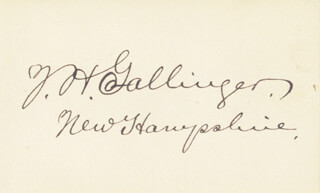 JACOB H. GALLINGER - AUTOGRAPH