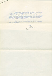 JOSEPH P. KENNEDY SR. - TYPED LETTER SIGNED 08/22/1952