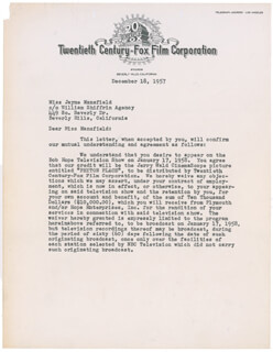 JAYNE MANSFIELD - DOCUMENT SIGNED 12/18/1957 CO-SIGNED BY: LEW SCHREIBER