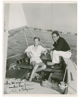 Autographs: HUMPHREY BOGIE BOGART - INSCRIBED PHOTOGRAPH SIGNED CO-SIGNED BY: LAUREN BACALL