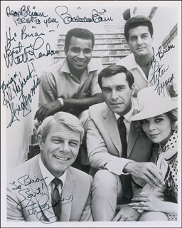 MISSION IMPOSSIBLE TV CAST - AUTOGRAPHED INSCRIBED PHOTOGRAPH CO-SIGNED BY: PETER GRAVES, MARTIN LANDAU, BARBARA BAIN, PETER LUPUS, GREG MORRIS