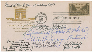 Autographs: GENERAL MARK W. CLARK - FIRST DAY COVER SIGNED CO-SIGNED BY: LT. GENERAL JAMES M. GAVIN, GENERAL LEWIS B. OLDEST SOLDIER HERSHEY, GENERAL WALTER T. KERWIN, GENERAL HENRY A. MILEY JR., GENERAL LUCIUS D. CLAY, GENERAL JOHN E. HULL