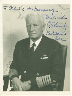 ADMIRAL CHESTER W. NIMITZ - AUTOGRAPHED INSCRIBED PHOTOGRAPH
