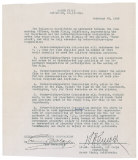 Autographs: GENERAL HENRY H. HAP ARNOLD - DOCUMENT SIGNED 02/13/1933 CO-SIGNED BY: LOUIS B. MAYER