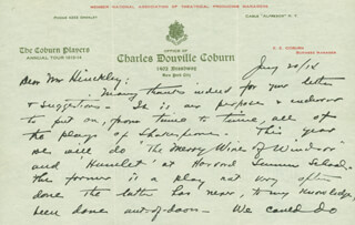 CHARLES D. COBURN - AUTOGRAPH LETTER SIGNED 01/20/1914