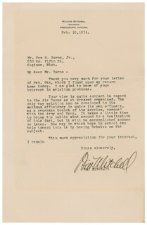 Autographs: MAJOR GENERAL WILLIAM BILLY MITCHELL - TYPED LETTER SIGNED 02/16/1931
