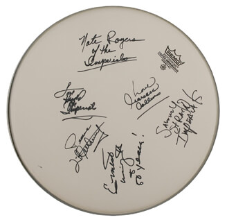 LITTLE ANTHONY AND THE IMPERIALS - DRUMHEAD SIGNED CO-SIGNED BY: LITTLE ANTHONY AND THE IMPERIALS (ANTHONY GOURDINE), LITTLE ANTHONY AND THE IMPERIALS (CLARENCE COLLINS), LITTLE ANTHONY AND THE IMPERIALS (ERNEST WRIGHT), LITTLE ANTHONY AND THE IMPERIALS (HAROLD JENKINS), LITTLE ANTHONY AND THE IMPERIALS (SAMMY STRAIN), LITTLE ANTHONY AND THE IMPERIALS (NATE RODGERS)