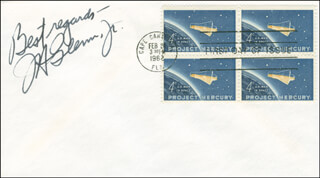 JOHN GLENN - FIRST DAY COVER WITH AUTOGRAPH SENTIMENT SIGNED  - HFSID 293386