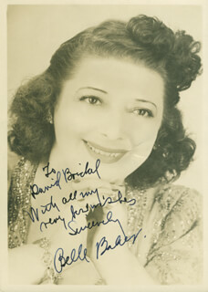 BELLE BAKER - AUTOGRAPHED INSCRIBED PHOTOGRAPH