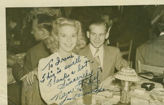Autographs: NAN GREY - INSCRIBED PHOTOGRAPH SIGNED CO-SIGNED BY: JACK WESTROPE