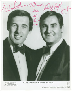 SANDLER & YOUNG - AUTOGRAPHED INSCRIBED PHOTOGRAPH CO-SIGNED BY: SANDLER & YOUNG (TONY SANDLER), SANDLER & YOUNG (RALPH YOUNG)