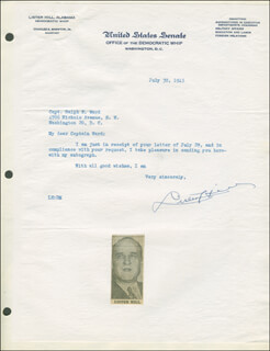 LISTER HILL - TYPED LETTER SIGNED 07/30/1945