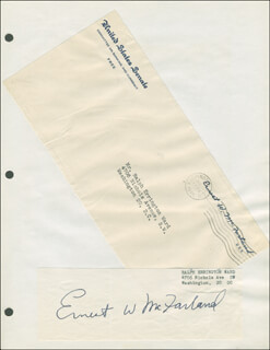 GOVERNOR ERNEST W MCFARLAND - CLIPPED SIGNATURE